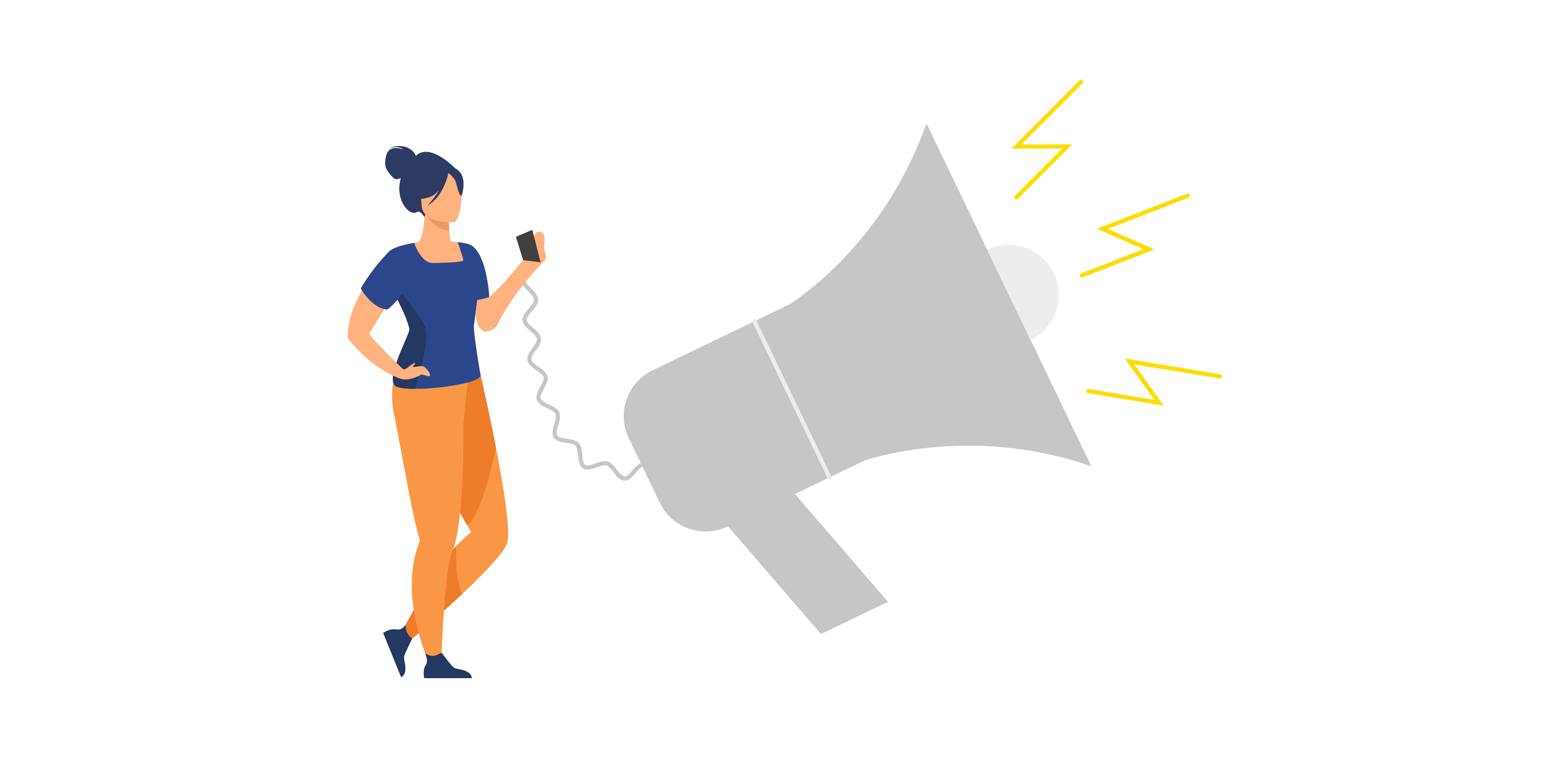 amplify your content infographic with person and megaphone