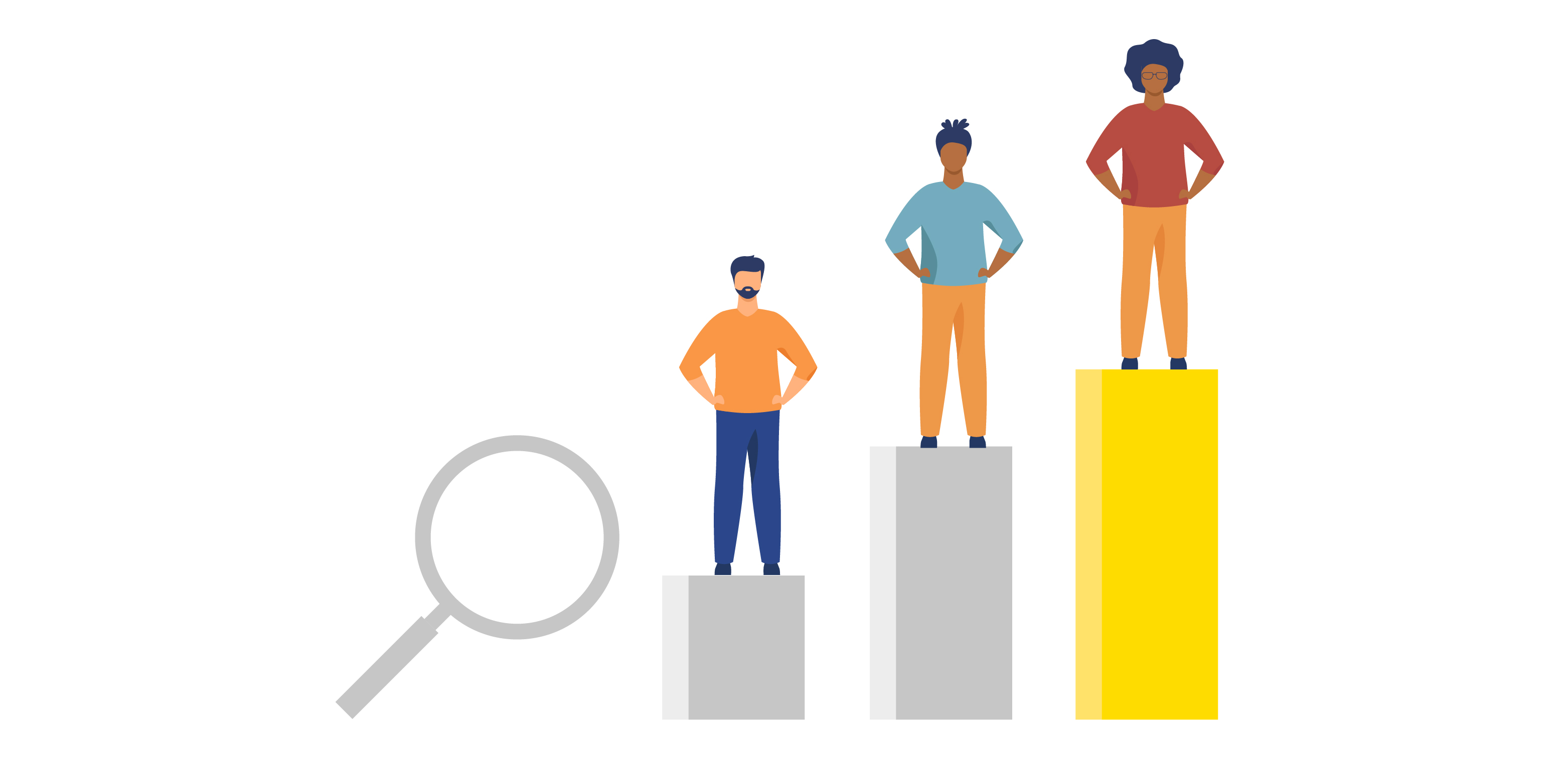 Improve your search engine rankings graphic with people stood on podiums